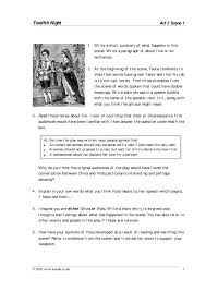 act 3 scene 1 study pack 2 extension worksheet twelfth night