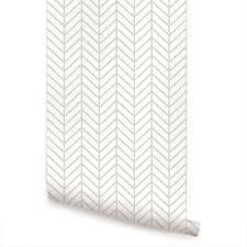Moroccan Wall Decal by Herringbone Line Wallpaper Beige Peel And Stick