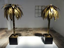 Tree Floor L Stunning Pair Of Maison Jansen Brass Gilded Metal Palm Tree Floor