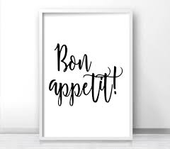 bon appetit printable wall art kitchen print instant