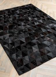 Patchwork Cowhide Onix By Mosaic Rugs Luxury Handcrafted Black Patchwork Cowhide