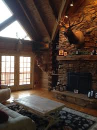 Rustic Livingroom Rustic Living Room Hunting Trophies Elk Mount Log Cabin Living