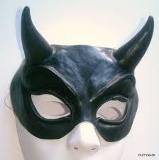 black latex demon eye masks