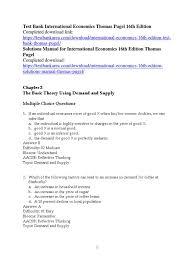 test bank international economics thomas pugel 16th edition
