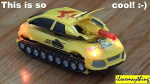 cool car toy toy review channel bumblebee transformer 2 in 1 car and a tank