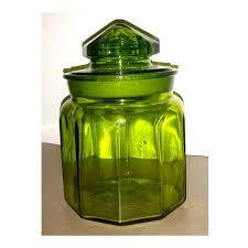 l e smith green glass canister green apothecary jar green glass
