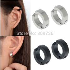 ear cuffs for pierced ears wholesale 6pairs hot black silver earring mens stainless
