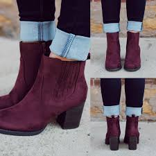 s boots ankle plum elastic sides stacked heel bootie indeed s uoionline com