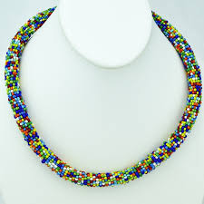 colored beaded necklace images Maasai multi color bead necklace jpg