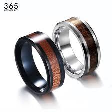 wooden metal rings images New trendy 8mm men wooden rings simple elegant stainless steel jpg