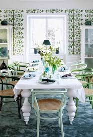 vintage dining room with black and green stool white dining table