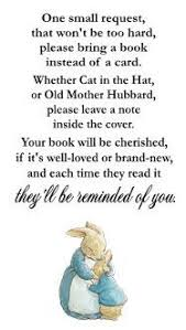 bring a book instead of a card poem rabbit beatrix potter baby shower book request card invitation