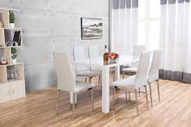 High Gloss White Laminate Flooring Pivero High Gloss White Dining Set Furniturebox