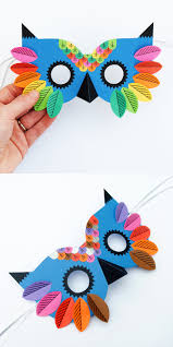 colourful owl mask craft project for the kids including free