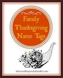 free family thanksgiving name tags blessed beyond a doubt