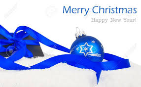 black and blue ribbon christmas gift black box with blue ribbon and balls on snow