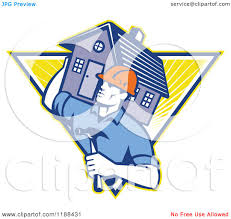 home builder free clipart of a retro home builder with a hammer carrying a house