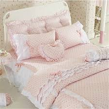 Korean Comforter Pink Polka Dot Bedding Sets Ktactical Decoration