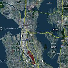 Bellevue Seattle Map by Standard Aerial Mural Map Of Seattle
