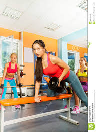 Lift Bench Lifting Dumbbell Weights On The Bench Exercise Stock Photo Image