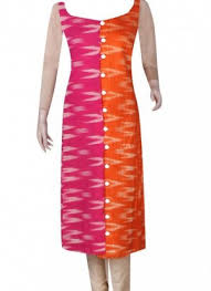 pink combination kurti unstitched orange and pink combination ikkath printed