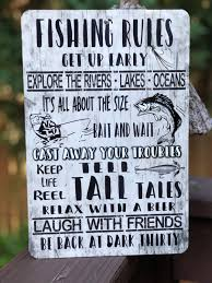 fishing home decor fishing rules sign metal fishing sign 12x8 metal sign home