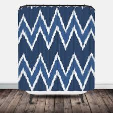 blue chevron ikat shower curtain