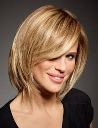 deconstructed bob hairstyle medium length haircut with a textured cutting line and layers for