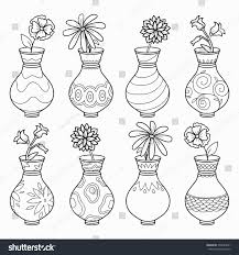 coloring book vases flowers vector colorless stock vector