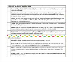 baby shower question 9 baby shower checklist templates free sle exle format