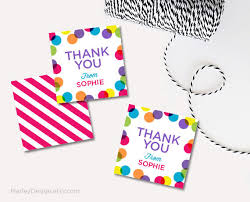 Thank You Favors by Personalized Thank You Tags Birthday Tags Bright Polka Dots Thank