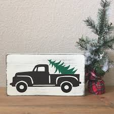 christmas tree farm sign vintage truck wood sign vintage