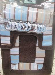 Bathroom Rug And Shower Curtain Sets Buy 15pc Brown Blue Stripe Bathroom Bath Mats Set Rug Towel