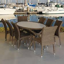 Atlantic Outdoor Furniture by Atlantic Contemporary Lifestyle Bari Oval 9 Piece Synthetic All