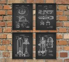 Firefighter Home Decorations Firefighting Patent Prints Set Of 4 Firefighter Art Posters
