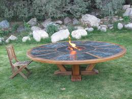 Personalized Fire Pit by Hand Made 9 U0027 Round Table With Fire Pit In The Middle By Coalcreek