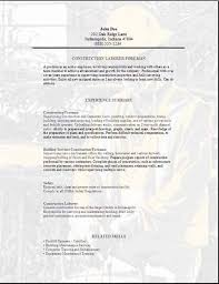 Plumber Resume Sample by Construction Foreman Resume Occupational Examples Samples Free