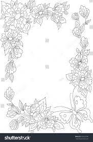 botanical border flowers leaves coloring book stock illustration