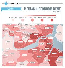 Boston Neighborhoods Map by Mapping Boston Rent Prices This Fall October 2016 The Zumper Blog