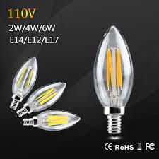 e17 led light bulb 2w 4w 6w e14 e12 e17 led filament candle bulb 360 degree glass
