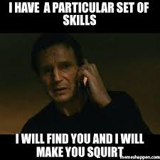 Squirt Meme - i have a particular set of skills i will find you and i will make