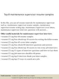 top 8 maintenance supervisor resume samples 1 638 jpg cb u003d1429948137
