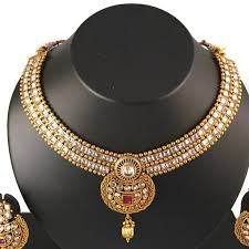 gold stones necklace images Gold white stone necklace set pinaash art jewellery jpg