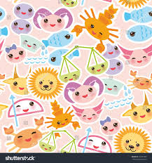 cancer colors zodiac seamless pattern funny kawaii zodiac sign stock vector 318351803