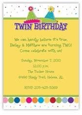 twins birthday invitation wording ideas birthday party