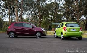 mirage mitsubishi 2016 2016 mitsubishi mirage vs holden spark city car comparison