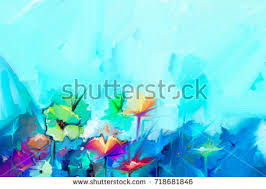 oil painting yellow pink red tulips stock illustration 350844464