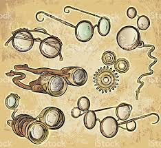 assorted steampunk style glasses and goggles stock vector art