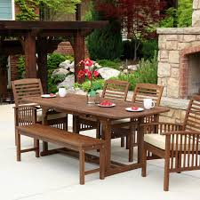 walker edison ow6sdb 6 piece brown acacia patio dining set w