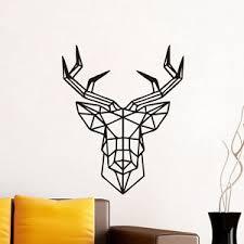 sticker mural chambre géométrique cerf autocollant sticker mural noir muraux déco